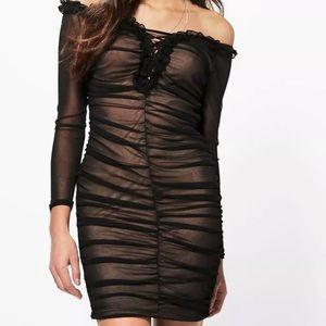 BOOHOO Mesh Off Shoulder Lace Up Dress
